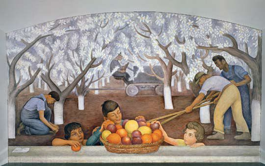 Still life and blossoming almond trees by diego rivera for Diego rivera famous mural