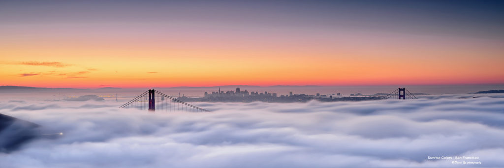 Golden Gate and Bay Bridge Fog at Sunrise by David Yu via Flickr | Far & Wise